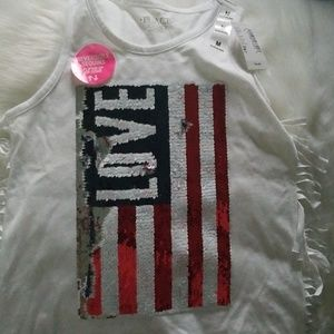 Little girl American Flag Tank top with fringe